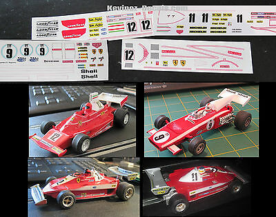 Scalextric Decals / Transfers for Ferrari 312B2, 312T, 312T3 - 5 Variations