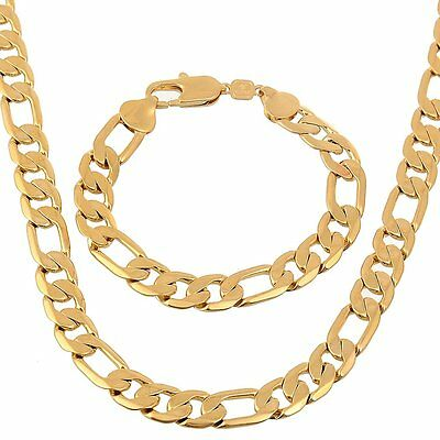 "xhHeavy Mens Chain Set 24k Yellow Gold GF Necklace Bracelet Jewelry 23.6""12mm"