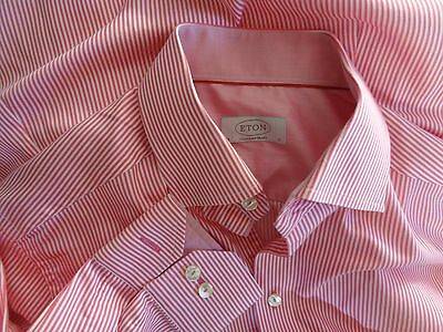 ETON Contemporary classic cotton shirt in pink and white stripes 15