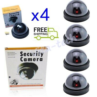4 Fake Dummy Dome Surveillance Security Camera with Infrared Light LED Sensor