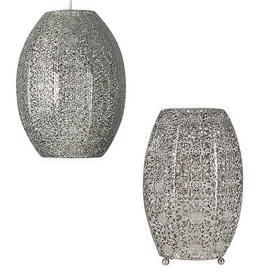 Brushed Chrome Moroccan Style Filigree Ceiling Pendant Light Shade & Table Lamp