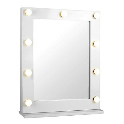 Large Gloss White Metal Hollywood Illuminated Vanity Mirror Wall / Table Top