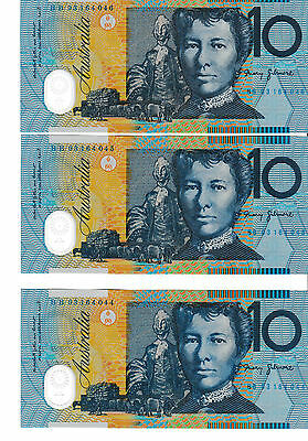 FRASER/EVANS 1993 $10 NOTE X3 CONSECUTIVES UNC RRP $65ea BB93
