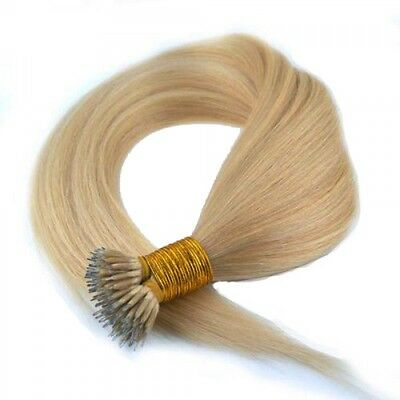 Nano Ring Tip 100% Remy Human Hair Extensions WITH RINGS Ash Blonde #16