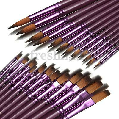 12Pcs Flat/Tip Fine Painting Brushes Artist Watercolor Acrylic Oil Paint Drawing