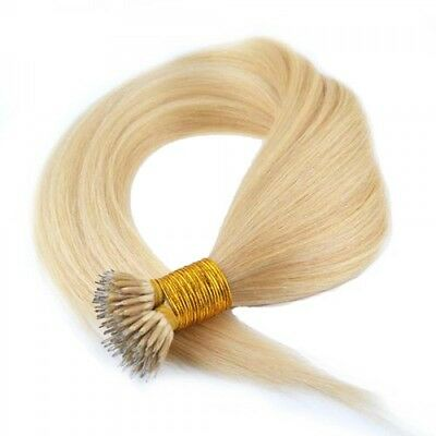 Nano Ring Tip 100% Remy Human Hair Extensions WITH RINGS Light Blonde #613