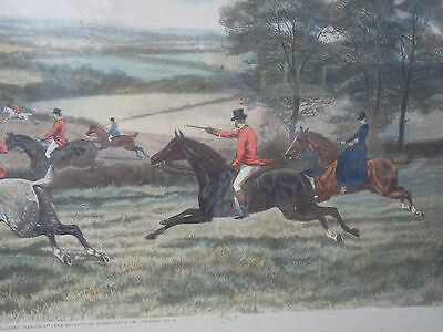 "E.A.S. DOUGLAS LARGE ANTIQUE FOX HUNTING PRINT. c1889. IN LATER FRAME. APP 33""W"