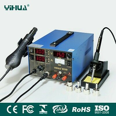 Yihua 853D 3in1 DC Power Supply SMD Soldering Rework Station Hot Air Gun 220V