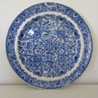 Rare Antique Late 18th Century  Soft Past Blue and white Dinner Plate
