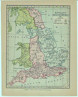 Vintage Longmans Map of England in 878 AD Showing Danish & Norse Territories