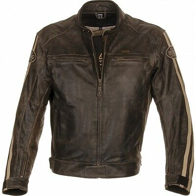 Richa Retro Racing Leather Motorcycle Jacket (Black or Brown)