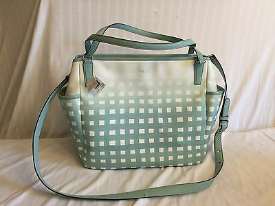 Nwt Coach Gingham Saffiano Leather Baby Diaper Bag Laptop Tote - 30342 $428