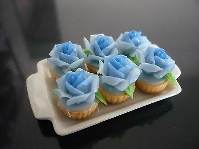 6 Cupcakes Blue Rose Top on Tray Dollhouse Miniatures Food  Bakery Valentine Day