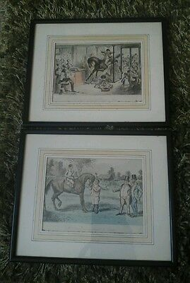 Antique pair of framed etchings