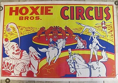 Orig Old HOXIE BROS CIRCUS Poster Clowns Elephants Acrobats Enquirer Printing Co