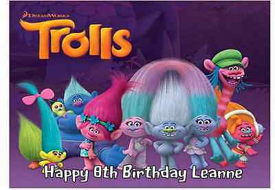 A4 Edible TROLLS Personalised  Birthday Party Icing Cake Topper Decoartion