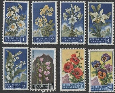 San Marino stamps. 1957 Flowers & Monte Titano. Low values.  MLH