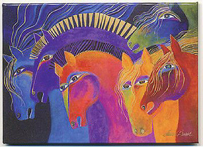 "LEANIN TREE ""Wild Horses of Fire"" Magnet #31230~Artist Laurel Burch~3.5"" x 2.5"""