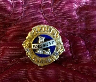 Vintage Lions Club President Lapel Pin 10K Gold Pearl Diamond