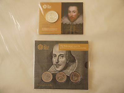 The Royal Mint Shakespeare 2016 £50 Fine Silver Coin and Shakespeare 2016 £2 X 3