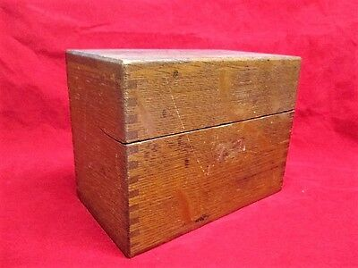 Vintage Dovetailed Oak Wood Wooden Recipe Box with Recipes Hand Written