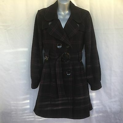 Womens Black & Wine Check Pea Coat Jacket - Uk Size 16