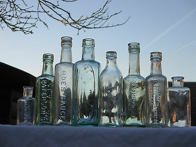 8X Vintage Old Antique Chemist Medicine Apothecary Cure Medical Glass Bottles
