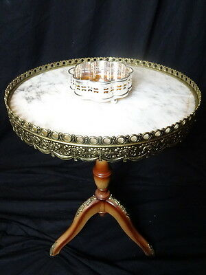 Antique French Empire Rococo Style Round Marble & Bronze Ormolu Occasional Table