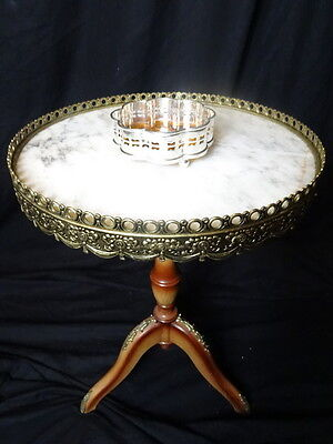 Vintage French Empire Rococo Style Round Marble & Bronze Ormolu Occasional Table