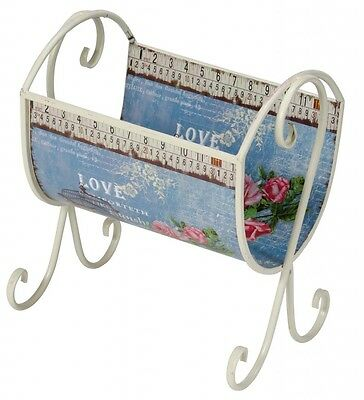Vintage Shabby Chic Free Standing Metal Magazine Newspaper Rack Holder Cream