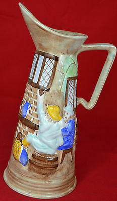 Hj Wood Burslem Pottery Jug - Gentlemen Outside Tavern