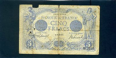 France French 5 Cinq Francs Banknote 1913
