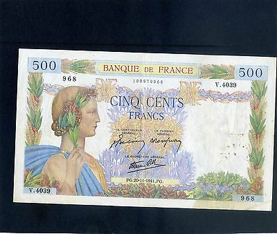 France French 500 Cinq Cents Francs Banknote 1941