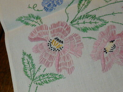 Vintage Hand Embroidered Table Runner - Dresser Scarf Fringe Edge  Poppies