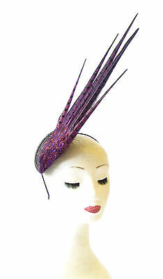 Statement Dark Purple Black Brown Pheasant Feather Fascinator Races Vtg Hat 1472
