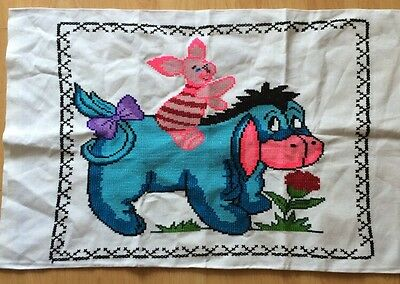 Handmade Cross Stitch Eeyore And Piglet Pillow Cover Wine Pooh Disney