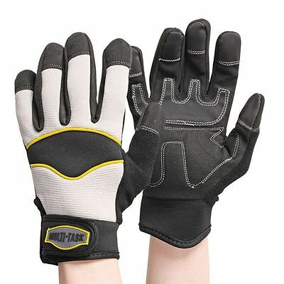 Polyco Syn Leather Mechanics Impact Work Gloves PVC Reinforced Tips Palm