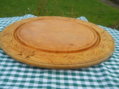 Vintage Carved Wheat Poppies Wooden Bread Board Big VGVC