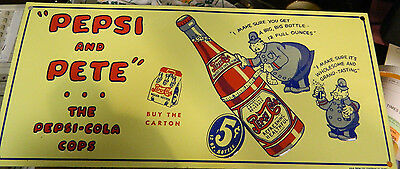 Embossed Pepsi and Pete The Pepsi Cola Cops 5¢ 12oz. Bottle Tin Sign Excellent
