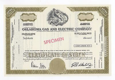 SPECIMEN - Oklahoma Gas and Electric Company Stock Certificate