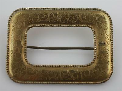 Antique gold tone embossed engraved floral pattern rectangle brooch pin sash