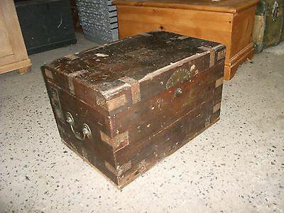 2' Vintage Rustic Battered Solid Wood Trunk Small Coffee Table Craft Chest Box