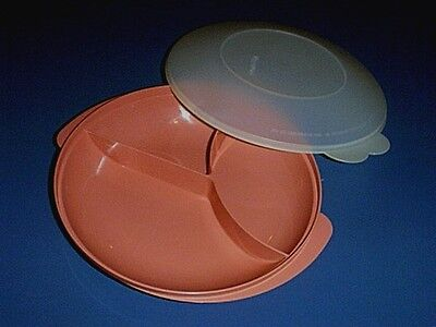 TUPPERWARE Divided Microwave Lunch Dish /Dinner Plate & Dome Lid DUSTY ROSE PINK