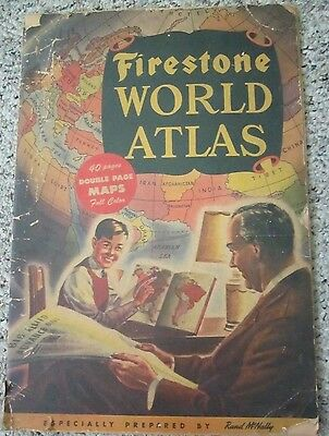 1942 FIRESTONE WORLD ATLAS PREPARED BY RAND McNALLY