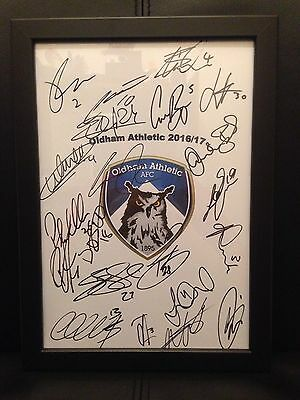 Oldham Athletic FC X21 NEW 2016/17 Hand Signed Framed A4 Autograph Sheet
