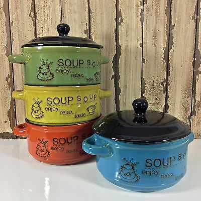 4 Soup Bowls Casserole Dish Ceramic with Lid Cereal Noodle Container Colour Mix
