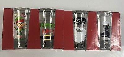 Momentum Happy Holidays 4 Shot Glasses Christmas Winter Elf Up, Buckle Up, Boots