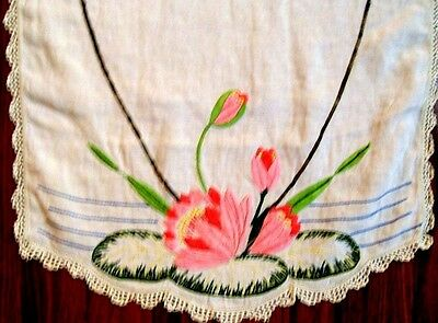 Vintage Dresser Scarf Water Lilly Embroidered 50 X 17