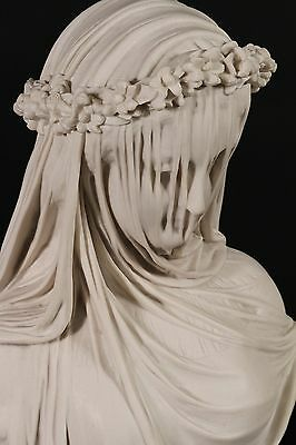 Stunning Veiled Lady Bust Marble Classical Sculpture, Gift, Art, Ornament.