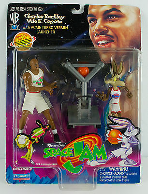 1996 SPACE JAM Charles Barkley & Wile E Coyote action figures w/ ACME Launcher